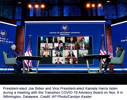 President-elect Joe Biden and Vice President-elect Kamala Harris listen during a meeting with the Transition COVID-19 Advisory Board on Nov. 9 in Wilmington, Delaware. Credit: AP Photo/Carolyn Kaster